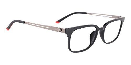 TIJN Metall Quadrat Brillen Rahmen für Damen und Herren (Schwarz)