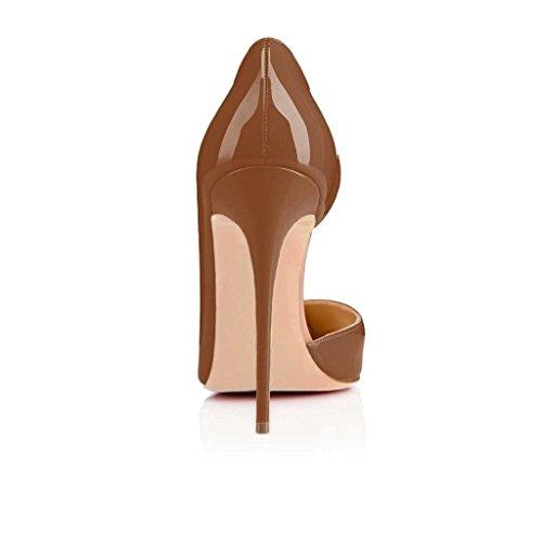 EDEFS - Escarpins Femmes - Chaussures Stilettos - Talon Aiguille - Grande Taille - Soiree Mariage - Taille 35-45 Chocolat