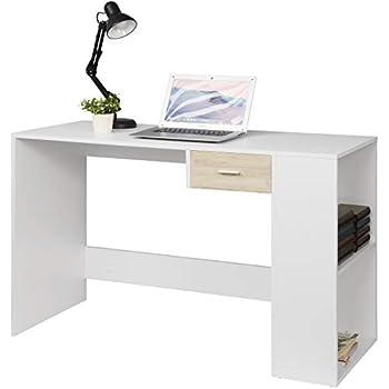 eSituro Scrivania Nera Ufficio con Cassettiera da Studio con Cassetti Tavolo Moderno in MDF Postazioni di Lavoro per Computer Desk Porta PC 120x58x75cm SCD0044