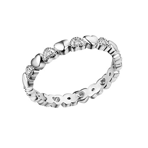CommittedeDamen Verlobungsring Diamantring Ring mit Diamanten Ring Handgemacht Edelstahl mit Zirkon Strass Geschenk für Frauen -