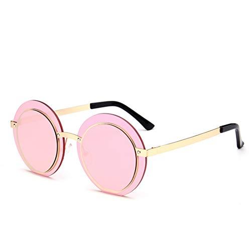 Yiph-Sunglass Sonnenbrillen Mode Retro einteiliger Stil stilvolle Runde UV-Schutz Sonnenbrillen für Damen und Herren. (Farbe : Rosa)