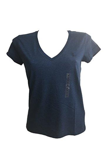 Polo Ralph Lauren Damen T-Shirt mit Pony-Logo, V-Ausschnitt - blau - Klein