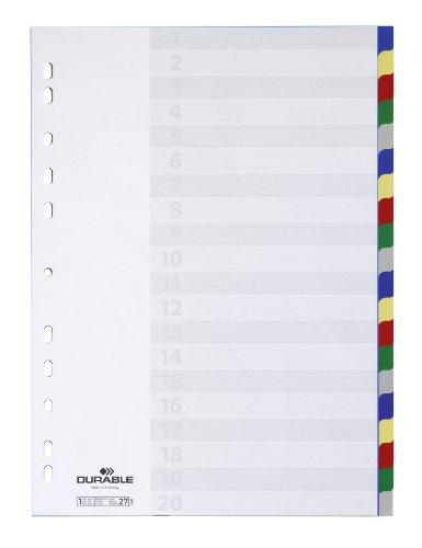 Durable 675827 Blanko-Register aus PP (20-teilig, Universallochung) 1 Stück, farbiger Verlauf