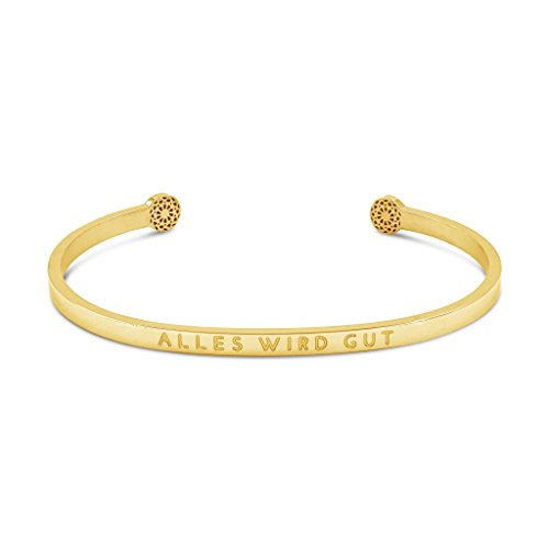 Simple Pledge - Alles Wird gut - Blind - Armreif in Gold mit Gravur für Damen