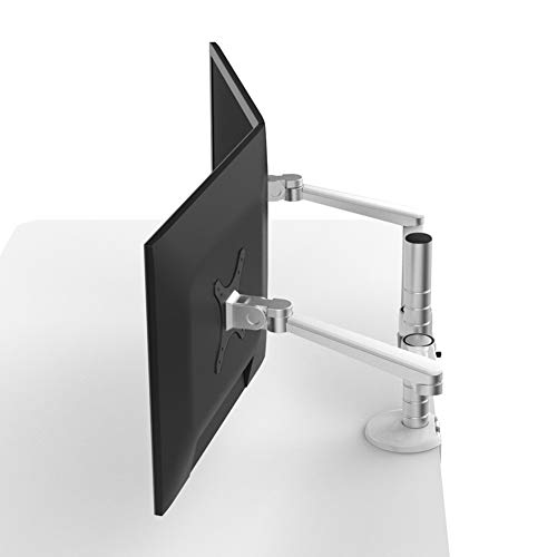 SJZV Doppelanzeige Halterung Computer Doppelter Arm Desktop Klammer Basis VESA Desktop Aluminiumlegierung -