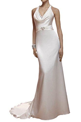 Milano Bride Damen Brillante V-Ausschnitt Etui Hochzeitskleider Brautkleider Meerjungfrau Brautmode Steine Lang Schleppe Elfenbein