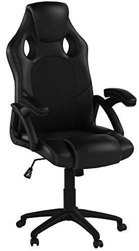 ArtLife Racing Schreibtischstuhl Montreal schwarz   Kunstleder   höhenverstellbar   ergonomisch   120 kg belastbar   Bürostuhl Drehstuhl Chefsessel