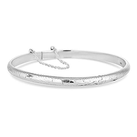 Simply Silver Sterling silver diamond cut bangle
