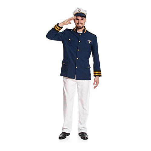 Kostümplanet® Kapitän Kostüm für Herren mit Sakko, Hose und Kapitäns-Mütze, Größe: 52 / 54, Farbe: blau, weiß, Gold, Verkleidung, Outfit für Karneval, Fasching, Halloween - Herren Seemann Kostüm