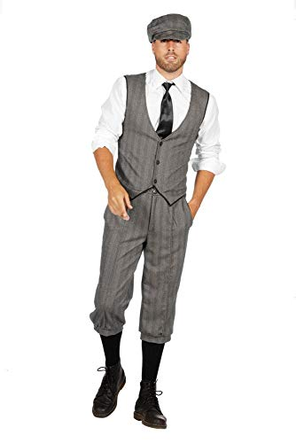 shoperama 20er Jahre Peaky Blinders Anzug Knickerbocker Herren-Kostüm Schwarz-Weiß Weste Schiebermütze The Roaring Twenties 20's, Größe:48