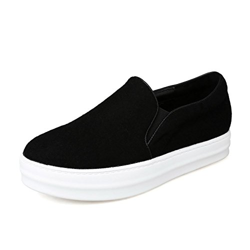 Adee Mesdames Casual artificielle synthetic-and-leather Chaussures Appartements Noir - noir