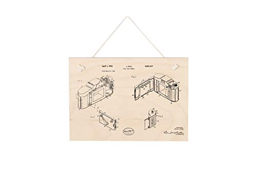 Vintage Holzbild Kleinbildkamera Patentzeichnung, Retro Wanddeko, Holzschild zum Aufhängen oder Aufstellen 30x20 cm