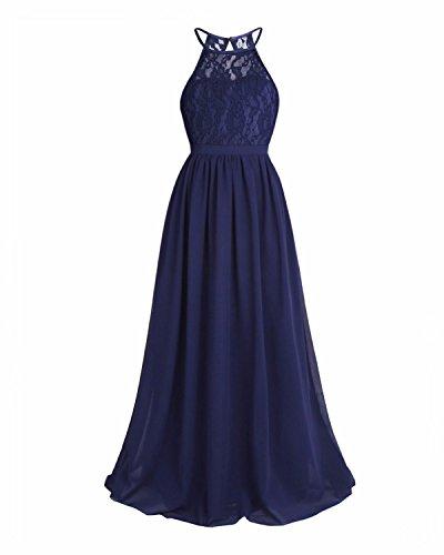 iEFiEL Kids Girls Halter Lace Chiffon Flower Dress Junior Wedding Bridesmaid Pageant Formal Party Dress Maxi Ball Gown