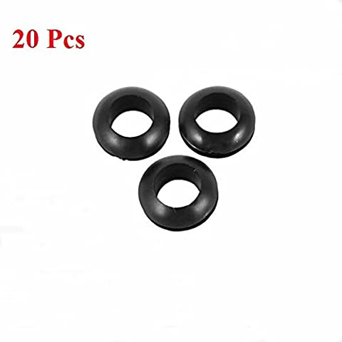 LaDicha 20Stk Rubber Verkabelung Dichtungen Ring Cable Protector 5/6/7/8 mm Inner Dia-Black 7 mm