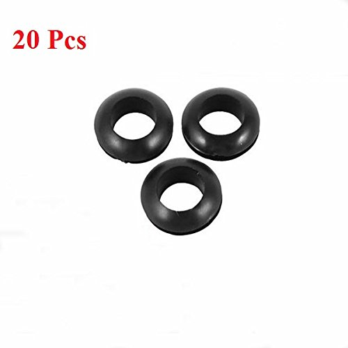 LaDicha 20Stk Rubber Verkabelung Dichtungen Ring Cable Protector 5/6/7/8 mm Inner Dia-Black 7 (Dichtung Kostüme)