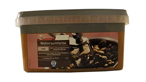 2x1 L Farbige Hochleistungs-Bunte Wandfarbe mit extrem hoher Ergiebigkeit Matt 2 L, Farbe:Cappucino