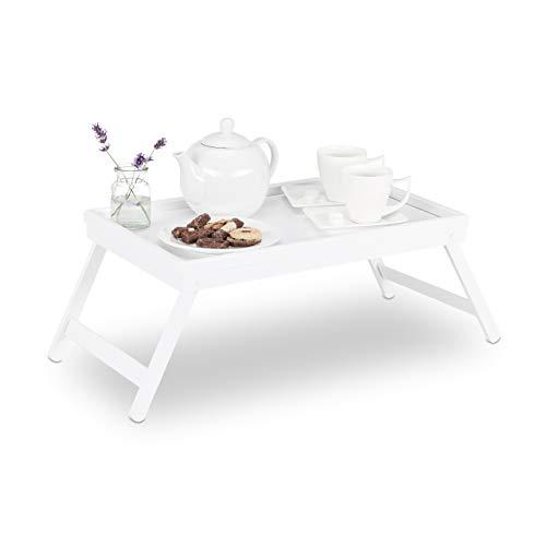 Relaxdays Betttablett Bambus, klappbare Beine, erhöhter Rand, Tablett zum Frühstücken & Servieren, HBT: 22x64x31cm, weiß - Bett-tablett