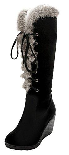SMITHROAD Damen Langschaft Winterstiefel Boots Schuhe Schnürstiefel Lace Up Schneestiefel mit Fellrand in 4 Farben Gr.34-38 Schwarz
