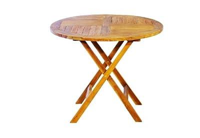DIVERO Balkontisch Tisch Beistelltisch Holz Akazie klappbar 90 cm Gartentisch