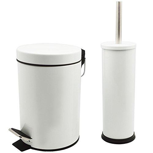 Badezimmer-Set mit Treteimer & Toilettenbürste - Eimer mit 3 Liter Volumen - Weiß - 3l Bad Möbel
