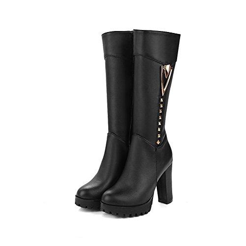 AgooLar Damen Rund Zehe Ziehen auf Stiefel mit Wasser Diamanten, Schwarz-Wasser Diamanten, 35