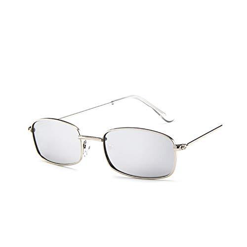 Vikimen Sportbrillen, Angeln Golfbrille,NEW Small Rectangle Sunglasses Men Red Lens Yellow NEW Metal Frame Clear Lens Sun Glasses For Women Unisex Uv400 Silver