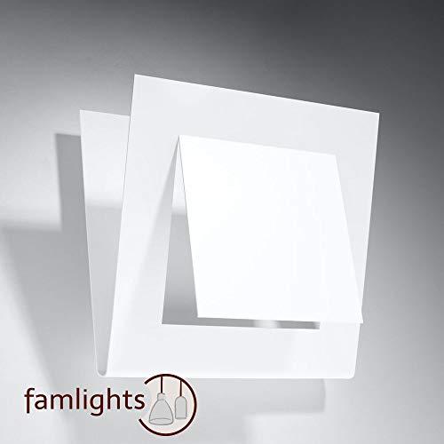 famlights Wandleuchte Julia aus Stahl, Weiß, eckig | Wandlicht edel Treppe Flur-Lampe Wohnzimmer-Leuchte Eingangsbereich Esszimmer-Lampe Küchen-Lampe Arbeitszimmer schlicht Zimmerlampe Bar G9 -