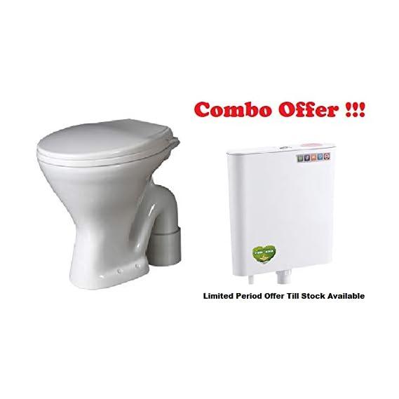 Ceramic Floor Mounted European Water Closet/Western Toilet Commode/EWC S Trap with Normal Seat Cover- White &Premium Slim Dual Flush Flush Tank Combo