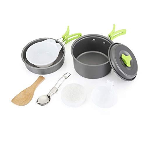 WYDML Tragbares Camping-Cookware-Set für 1-2 Personen, Non Stick Pot Pan Bowls Mess Kit für Backpacking Gear und Wandern Outdoor Mess-kit 1 Person