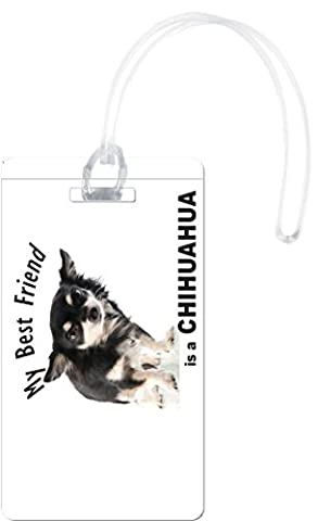Rikki Knight My Best Friend is A Chihuahua Puppy Dog Flexi Luggage Tags, White