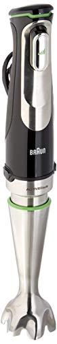 Braun Minipimer 9 MQ9037X Sauce Batidora de Mano Eléctrica, Tecnología Active Blade, Campana Anti-Salpicaduras, Picadora DE 0.5 l y Varillas, 1000 W, Plástico, Negro y Plata