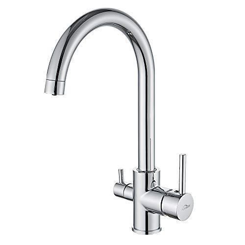 Auralum 3 Wege Küche Wasserhahn für Wasserfilter 360° drehbar Trinkwasserhahn Küchearmatur inkl. 1/2 Adaptern