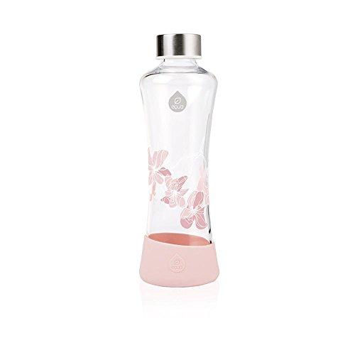 Equa Glasflasche Magnolia 0,55l Trinkflasche aus Glas mit Silikonboden Sportflasche 550 ml Designer Flasche für unterwegs