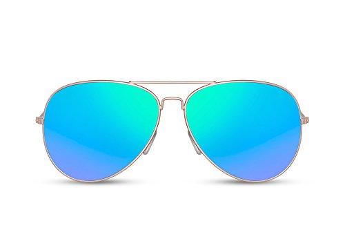 Cheapass Flieger-Sonnenbrille Verspiegelt Blau Silber-n UV-400 Piloten-Brille Retro Metall Damen Herren