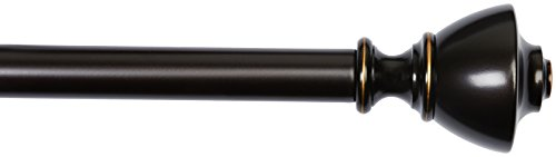 AmazonBasics - Gardinenstange, 2,54 cm, mit urnenförmige Endstücke, 91,44 cm bis 182,88 cm, Bronze