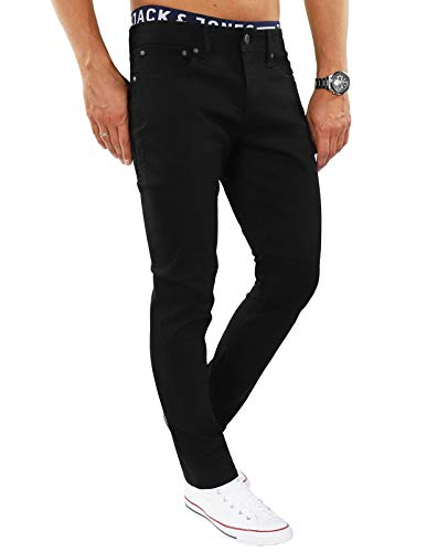 JACK & JONES Herren Jeans jjiTIM 085 Used Look Blue Denim Elasthan Slim Fit (Schwarz (Black Fit:Slim Jjitim Jjoriginal CR 068), 34W / 32L)