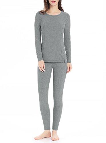 Genuwin Ropa Térmica para Mujer - Camiseta Manga Larga & Pantalones Largos - Ropa Interior Funcional para Invierno - Warm +, 1 Conjunto (S, Gris Claro)