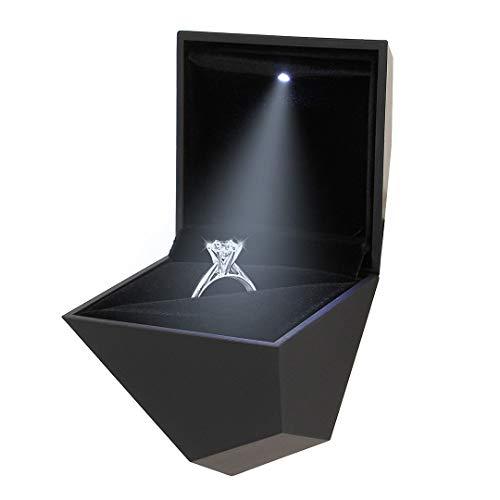 90S Elegante Caja Anillo Terciopelo Forma Diamante
