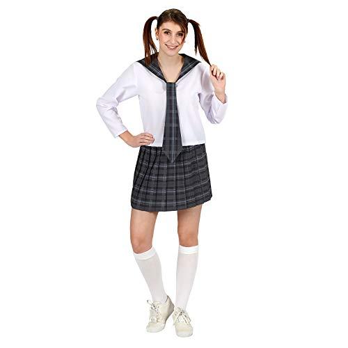 Cosplay School Girl Damen Kostüm 2tlg Bluse Rock grau weiß - 40/42