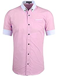 Sourcingmap Allegra K Men Short Sleeves Slim Fit Button Down Shirt