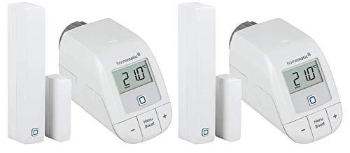 Homematic IP Set Heizen Easy Connect für 2 Räume | 2 x elektronisches Heizkörperthermostat, 2 x Fensterkontakt. Programmierbare Funk Heizungssteuerung. Stand-Alone-Betrieb – Zum Smart Home erweiterbar