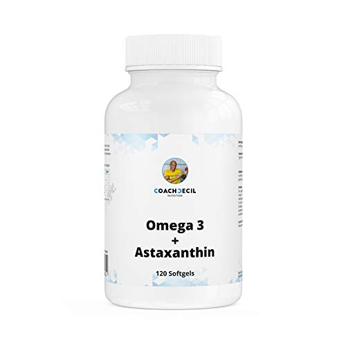 Coach Cecil Omega 3 + Astaxanthin + Vitamin E - 120 Softgels - (Kombinationsprodukt Made in Germany, norwegisches Fischöl, 1680mg EPA und 840mg DHA, 12mg Astaxanthin, 8mg Vitamin E pro Tagesdosis)