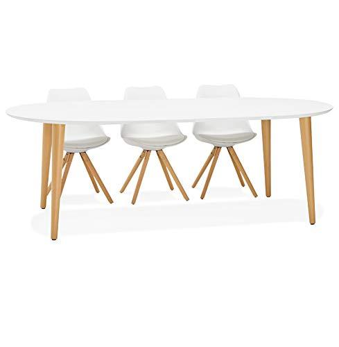 Alterego - Table à dîner Ronde Extensible 'IGLOU' Style scandinave - 120(220) x120 cm
