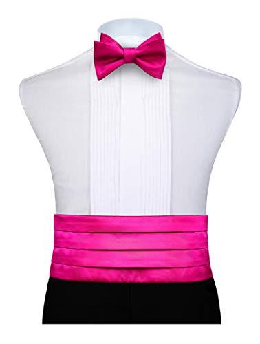Enlision Herren Hot Pink Cummerbund Selbst Bowtie & Einstecktuch Set Hot Pink Cummerbund-set