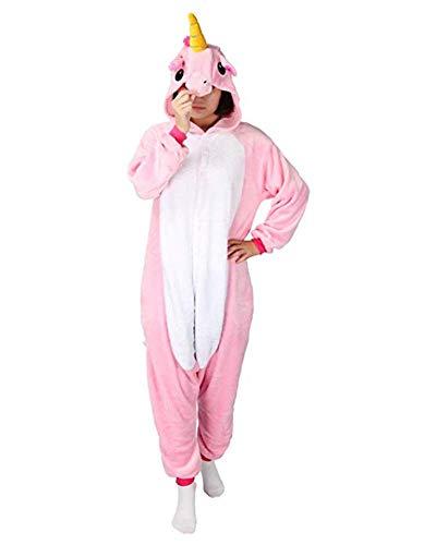 Warmes Unisex-Karnevals-Kostüm für Kinder, Einhorn Eule Zebra Giraffe Kuh, für Halloween Fest Party, als Pyjama, Tier-Kigurumi-Kostüm für Zoo-Cosplay, Einteiler - Medium - Pony Unicorn Rosa