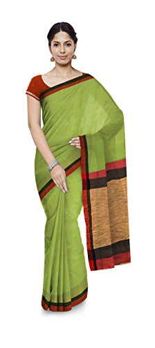 Aakarshan Weaves Women's Khadi Pure Cotton Saree with Ghicha Border and Pompoms/Tussels...