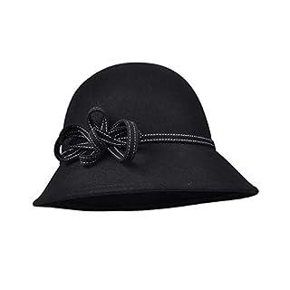 Amazplus Bowler Hats, Frauen Winter 100% Wolle Halten Warme Mode Bow Caps, Zum Einkaufen Und Gepaart Mit Abendkleidern Black 57cm