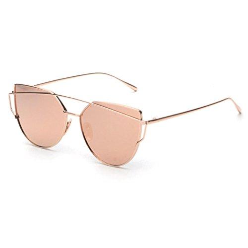 Bluester Fashion Twin-Beams Classic Women Metal Frame Mirror Sunglasses Cat Eye Glasses (Rose Gold)