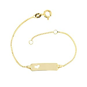 Baby ID-Armband Veneziakette in Gelbgold 585 Gold 14 cm Kinder Schmuck *inkl. Gravur* Made in Germany 5.54310HERZ