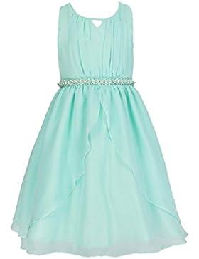 Chiffon Brautjungfern Anlässe Festkleid Blumenmädchen Tee-Länge Kleid